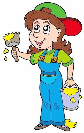 Cute house painter - vector illustration. Stock Photo - Budget Royalty-Free & Subscription, Code: 400-04161306
