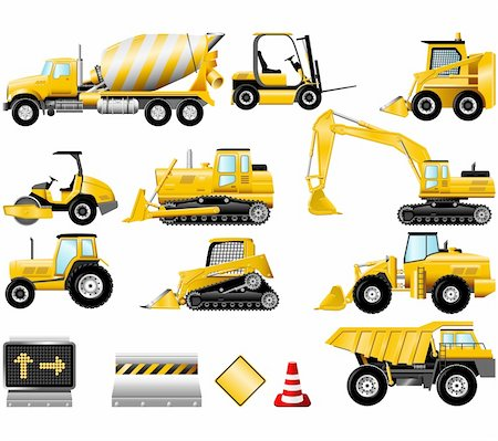 snow plow truck - Construction Machinery icons isolated on the white Stock Photo - Budget Royalty-Free & Subscription, Code: 400-04161403