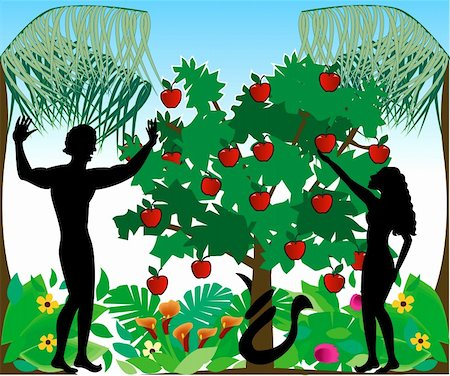 Vector Illustration of Adam warning Eve not to eat the forbidden fruit in the Garden of Eden. Stock Photo - Budget Royalty-Free & Subscription, Code: 400-04161470