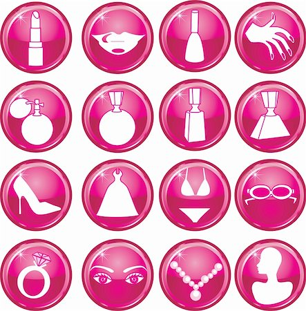 16 Vector Silhouette Icon Buttons for Beauty or Fashion. Also available as buttons and in color. Stock Photo - Budget Royalty-Free & Subscription, Code: 400-04161473