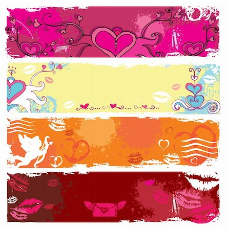 Set of Valentine's day grunge banners, with space for your text Stock Photo - Budget Royalty-Free & Subscription, Code: 400-04161710
