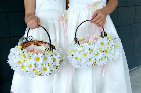 Image of two flower girls holding daisy baskets Stock Photo - Budget Royalty-Free & Subscription, Code: 400-04161968