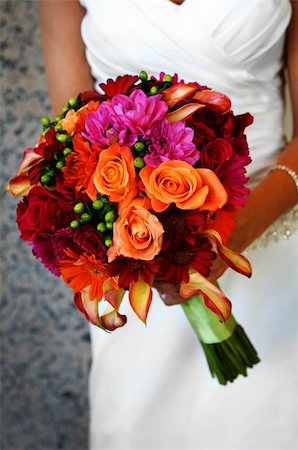 Image of a bride holding colorful bouquet Stock Photo - Budget Royalty-Free & Subscription, Code: 400-04161971