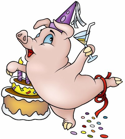 Dancing Pig - Happy Birthday -cartoon illustration as detailed vector Stock Photo - Budget Royalty-Free & Subscription, Code: 400-04162087