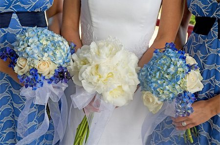 Image of a bride and two bridesmaids holding bouquets Stock Photo - Budget Royalty-Free & Subscription, Code: 400-04162133