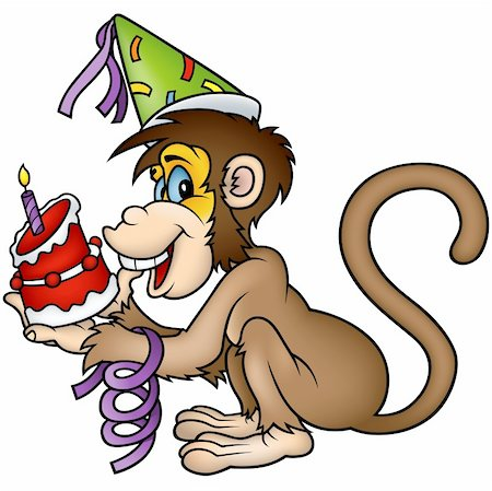 Monkey Happy Birthday - detailed colored illustration as vector Stock Photo - Budget Royalty-Free & Subscription, Code: 400-04162265