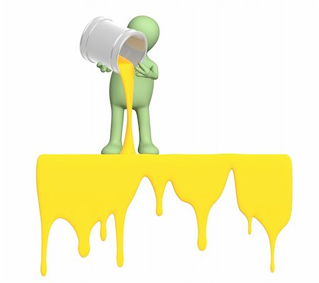 pouring paint art - Puppet, pouring a paint from buckets Stock Photo - Budget Royalty-Free & Subscription, Code: 400-04162372