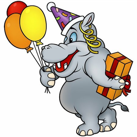Hippo and Gift - detailed colored illustration as vector Stock Photo - Budget Royalty-Free & Subscription, Code: 400-04162455