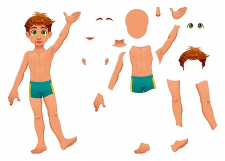 Parts of body. Cartoon and vector separated elements. Stock Photo - Budget Royalty-Free & Subscription, Code: 400-04162665