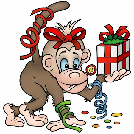 Monkey and Gift - detailed colored illustration Stock Photo - Budget Royalty-Free & Subscription, Code: 400-04162845