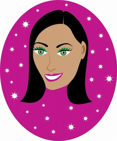 Vector pretty Dark haired girl with Hot Pink background. Great for personalization, see many other faces with different looks. Stock Photo - Budget Royalty-Free & Subscription, Code: 400-04163325