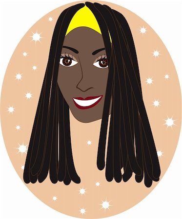 Vector pretty African American or Jamaican girl with Tan background. Great for personalization, see many other faces with different looks. Stock Photo - Budget Royalty-Free & Subscription, Code: 400-04163326