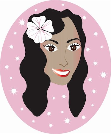 Vector pretty Hawaiian girl with Pink background. Great for personalization, see many other faces with different looks. Stock Photo - Budget Royalty-Free & Subscription, Code: 400-04163327