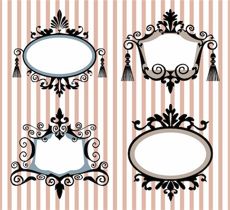 Set of vintage frames, vector illustration. File included Eps v8 and 300 dpi JPG Stock Photo - Budget Royalty-Free & Subscription, Code: 400-04163412
