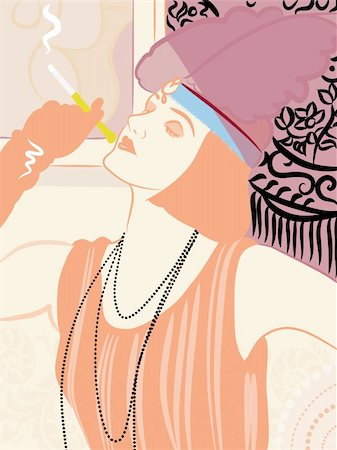 illustration drawing of a woman in vintage clothing smoking Stock Photo - Budget Royalty-Free & Subscription, Code: 400-04176159