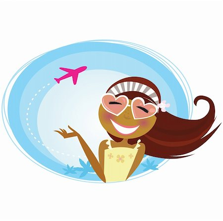 flying heart girl - Tourist girl on airport terminal. Landing airplane silhouette in background. Vector Illustration. Stock Photo - Budget Royalty-Free & Subscription, Code: 400-04176191