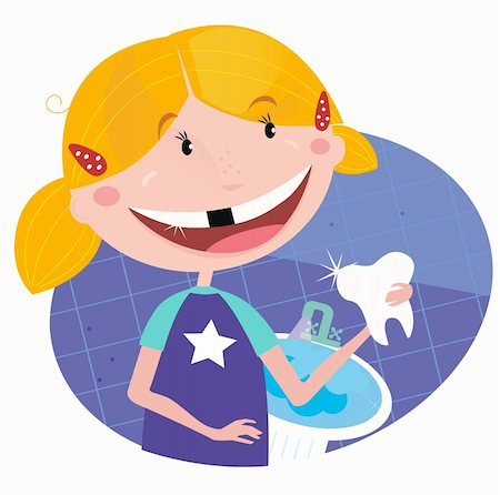 Vector Illustration of small blonde girl with her tooth. Stock Photo - Budget Royalty-Free & Subscription, Code: 400-04176697