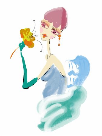watercolor painting of a beautiful girl holding flower in her hands Stock Photo - Budget Royalty-Free & Subscription, Code: 400-04176802