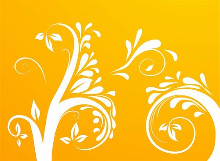 simsearch:400-05235216,k - drawing of tree and vines pattern in an orange background Stock Photo - Budget Royalty-Free & Subscription, Code: 400-04176998
