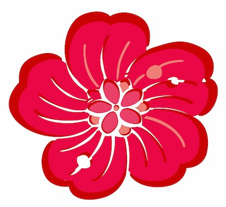 simsearch:400-04697977,k - drawing of red flower in a white background Stock Photo - Budget Royalty-Free & Subscription, Code: 400-04177175