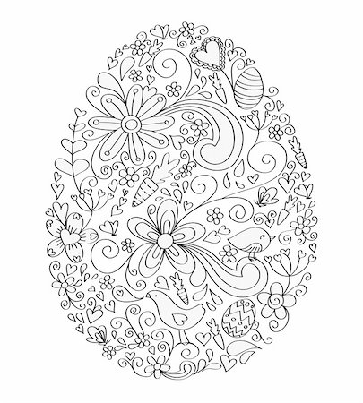 Egg shape hand-drawn greeting card design with floral, bird and vine elements.  Colors are grouped and easily editable. Stock Photo - Budget Royalty-Free & Subscription, Code: 400-04177195