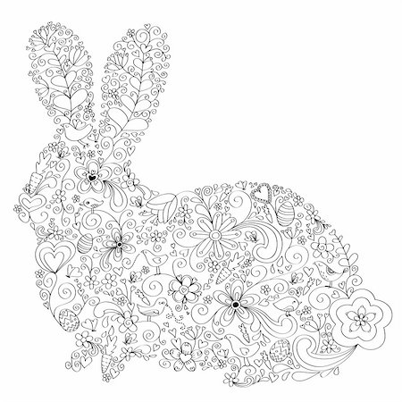 Rabbit shape hand-drawn greeting card design with floral, bird and vine elements.  Colors are grouped and easily editable. Stock Photo - Budget Royalty-Free & Subscription, Code: 400-04177198