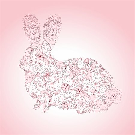 Rabbit shape hand-drawn greeting card design with floral, bird and vine elements.  Colors are grouped and easily editable. Stock Photo - Budget Royalty-Free & Subscription, Code: 400-04177199