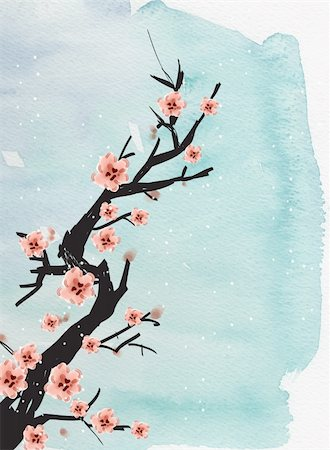 chinese painting of plum on the blue background Stock Photo - Budget Royalty-Free & Subscription, Code: 400-04179365