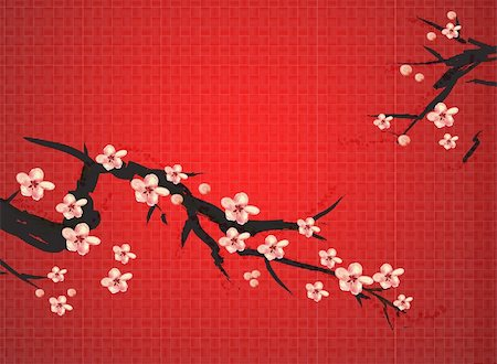 chinese painting of plum on the red background, meaning chinese spring  festival Stock Photo - Budget Royalty-Free & Subscription, Code: 400-04179363