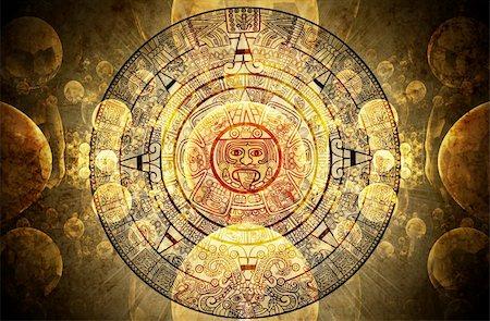 Horizontal background with Maya calendar Stock Photo - Budget Royalty-Free & Subscription, Code: 400-04179423