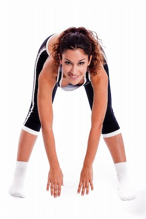 Women bending down and doing her excercise on white background Stock Photo - Budget Royalty-Free & Subscription, Code: 400-04171440