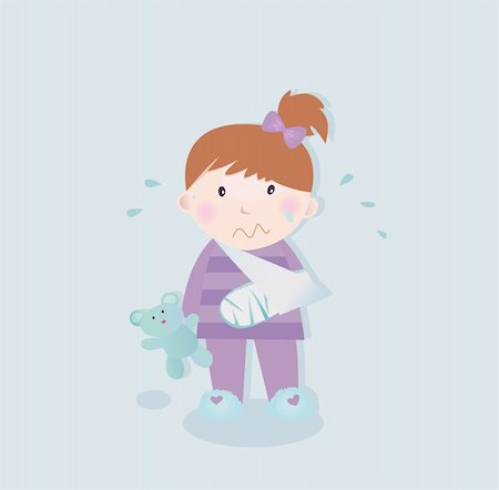 Small crying child with fractured bone and blue teddy bear. Vector Illustration. Stock Photo - Budget Royalty-Free & Subscription, Code: 400-04171907