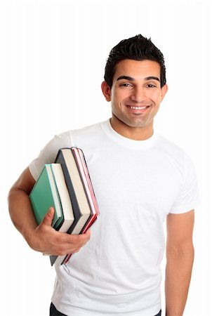 Male university or college student holding a stack of books under one arm.  He is wearing a white t-shirt and has a friendly smile. Stock Photo - Budget Royalty-Free & Subscription, Code: 400-04172161