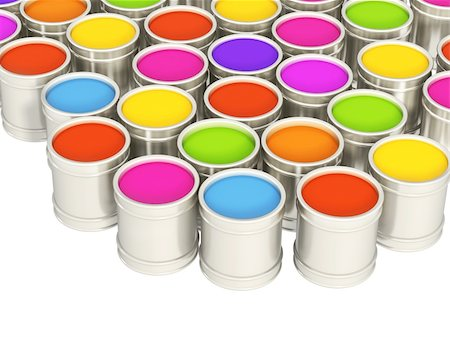 pouring paint art - Multi-coloured paints in metal banks Stock Photo - Budget Royalty-Free & Subscription, Code: 400-04172357