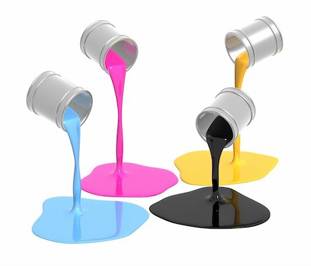 pouring paint art - Conceptual image - a palette CMYK. Objects over white Stock Photo - Budget Royalty-Free & Subscription, Code: 400-04172358