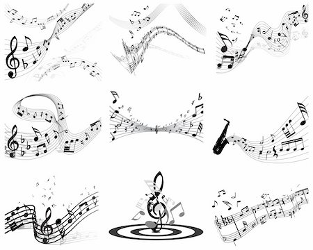Vector musical notes staff backgrounds set for design use Stock Photo - Budget Royalty-Free & Subscription, Code: 400-04173341