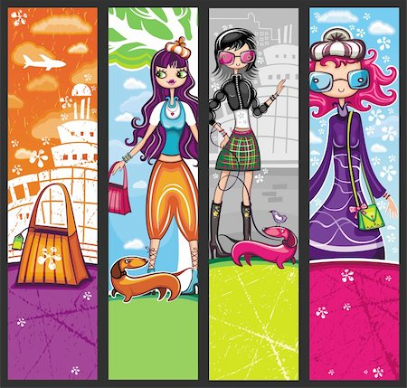 Urban shopping girls - banners set with copyspace (girls banners series) Stock Photo - Budget Royalty-Free & Subscription, Code: 400-04185015