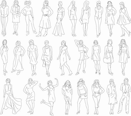 Set of sketches of women. Vector illustration Stock Photo - Budget Royalty-Free & Subscription, Code: 400-04185169