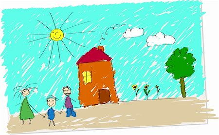 Vector illustration of childlike drawing of happy family in front of their home. Stock Photo - Budget Royalty-Free & Subscription, Code: 400-04186762
