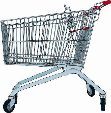 empty shopping cart - Hand drawn vector illustration of empty shopping trolley Stock Photo - Budget Royalty-Free & Subscription, Code: 400-04186763