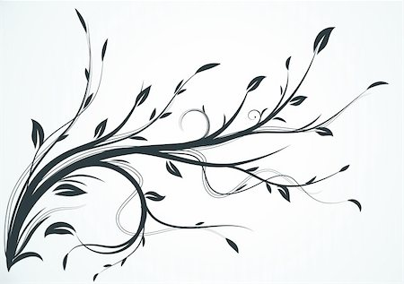 filigree tree - Vector illustration of swirling flourishes decorative Floral Background Stock Photo - Budget Royalty-Free & Subscription, Code: 400-04187768