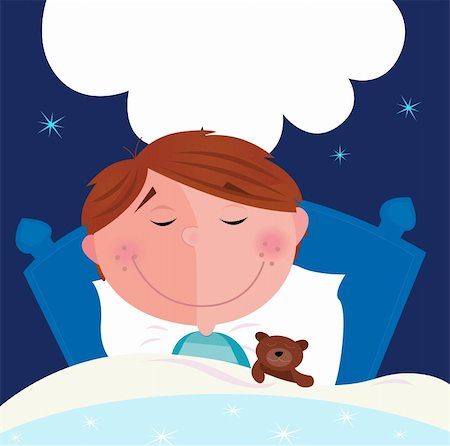 simsearch:400-04598294,k - Cute small boy sleeping and dreaming. Write the dream inside speech bubble! Vector Illustration. Stock Photo - Budget Royalty-Free & Subscription, Code: 400-04187776