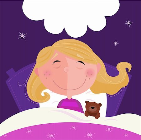 face woman beautiful clipart - Cute girl sleeping with her teddy during dark blue night. Stars in background behind bed. Vector Illustration. Stock Photo - Budget Royalty-Free & Subscription, Code: 400-04187782