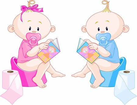 Little babies ? girl and boy are sitting on potties with open books Stock Photo - Budget Royalty-Free & Subscription, Code: 400-04188339