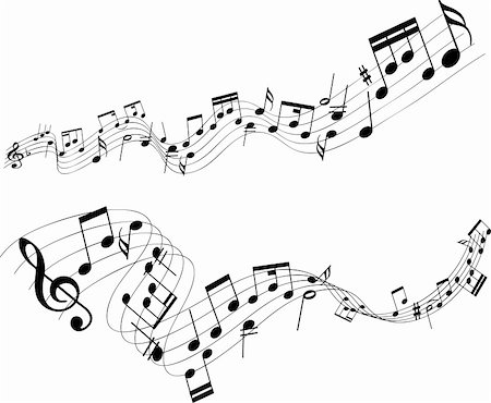 Abstract designs of music notes on a white background Stock Photo - Budget Royalty-Free & Subscription, Code: 400-04189181