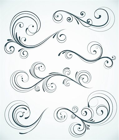 Vector illustration set of swirling flourishes decorative floral elements Stock Photo - Budget Royalty-Free & Subscription, Code: 400-04180825