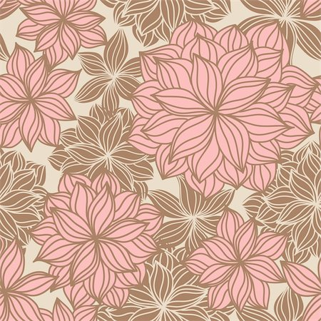 Hand-drawn floral seamless pattern in vintage tones Stock Photo - Budget Royalty-Free & Subscription, Code: 400-04180887