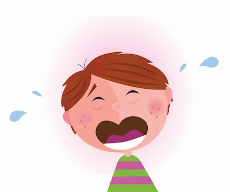 Vector Illustration of lonely small crying boy. Facial expression detail. Angry, sad and frustrated child that needs a big hug. Stock Photo - Budget Royalty-Free & Subscription, Code: 400-04180936