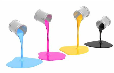 pouring paint art - Conceptual image - a palette CMYK. Objects over white Stock Photo - Budget Royalty-Free & Subscription, Code: 400-04180966