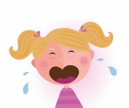 Crying small child. Vector cartoon illustration of cute crying baby girl. Stock Photo - Budget Royalty-Free & Subscription, Code: 400-04181312